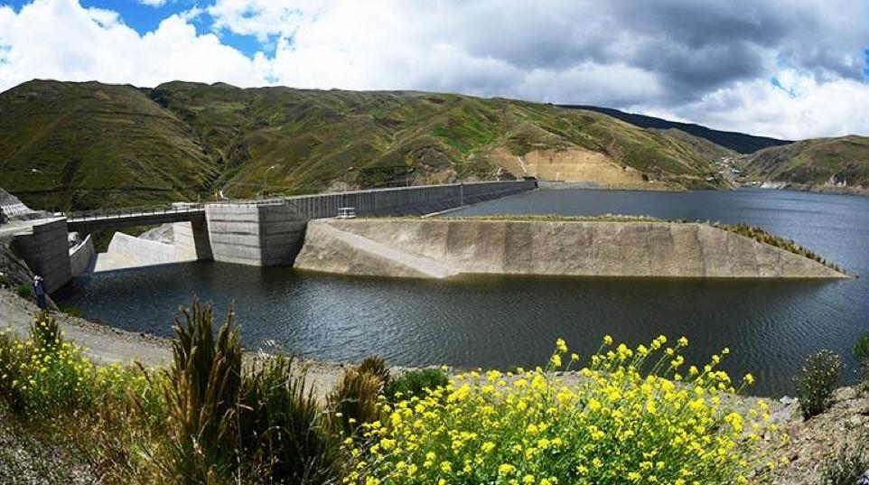 El vertedero donde se acumula el excedente de la represa Misicuni. | Carlos López